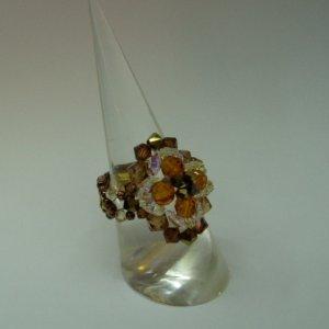 Smokey Topaz Flower Crystal Ring (RG001)