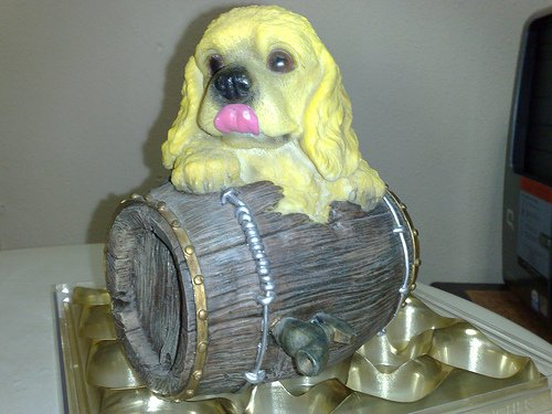 Dog On Barrel Coinbank