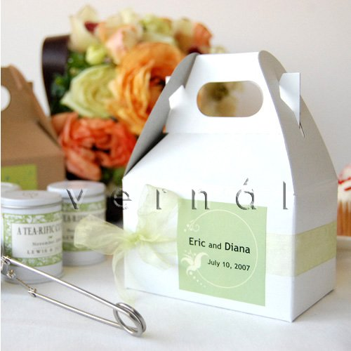 Mini Gable Favor Box / Boxes - White - (Set of 10)