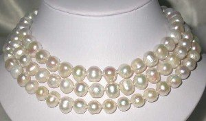 "Real 50"" 12mm white FW pearl necklace"