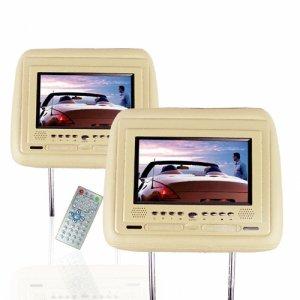 7 Inch Car Headrest DVD Player - TV + Touchscreen -Pair -Tan