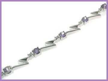 21 Round Created Amethyst Bracelet 925 Silver 7.5""