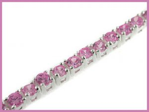 Round Created Pink Sapphire 925 Silver Bracelet 6.5""