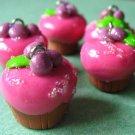 4 Raspberry Muffin Charm