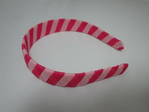 Woven Headband (Hot Pink & Cotton Candy Pink Stripes)