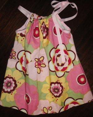 Pillowcase Dress, pink, green and yellow print, 3T, free shipping