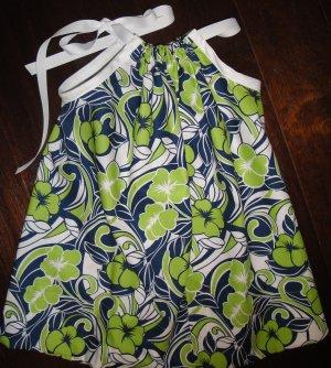 Navy, green & white print pillowcase dress, 3T, free shipping