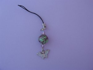 Sterling Lampwork Swarovoski  Butterfly Cell Phone Charm