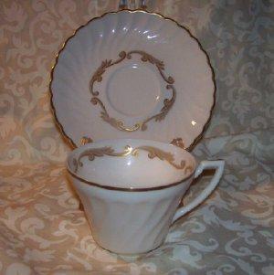 Syracuse Baroque Gray Cup & Saucer