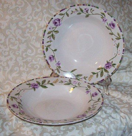 Laura Ashley GRAPEFIELDS (2) Rimmed Soup bowls