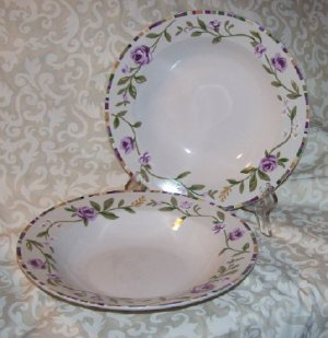 Laura Ashley GRAPEFIELDS (2) Rimmed Soup bowls