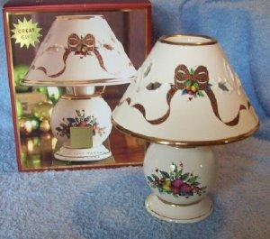 Lenox Holiday Tartan Candle Lamp with shade, MIB