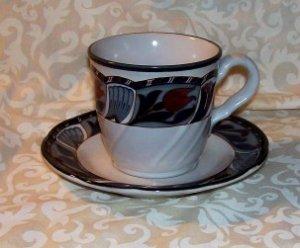 Noritake 8683 Tulip Ridge Cup and Saucer