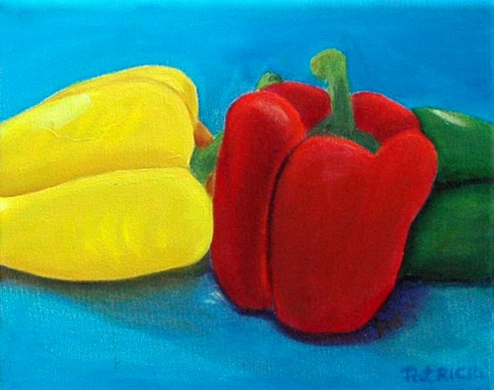 Sweet Peppers, Original Still Life Oil Painting