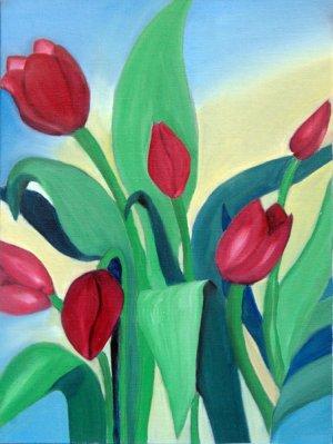 Red Tulips, Original Oil Painting
