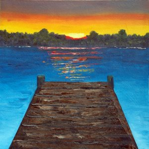 Sunset at the Dock, Original Oil Painting