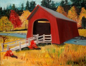 Covered Bridge Over Water, Original Oil Painting