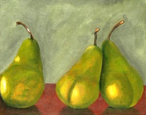 Three is a Crowd, Original Oil Painting, Pears