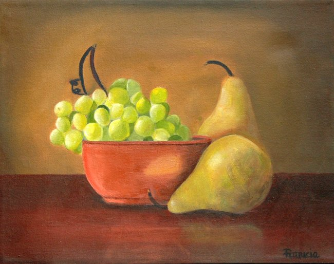 Grape and Pear Original Oil Painting