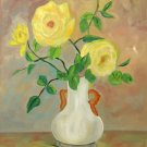 Yellow Roses, Original Oil Painting, Free Shipping