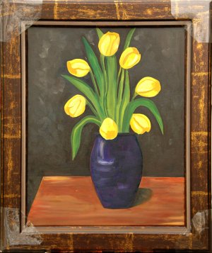 Yellow Tulips, Framed Original Oil Painting