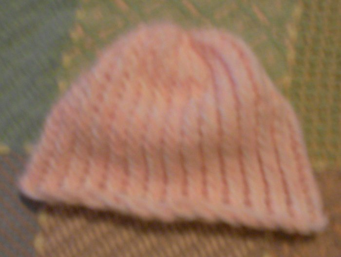 Hand Knitted BabyPink & White Cap