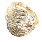 2 CTTW Baquette cut Diamonds-10K Yellow Solid Gold Ring