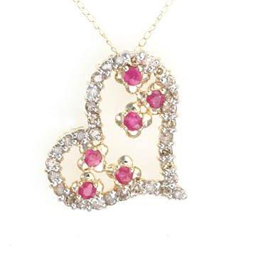 1 CTW Geniune white diamonds/.30 CTW Rubies/10 K chain