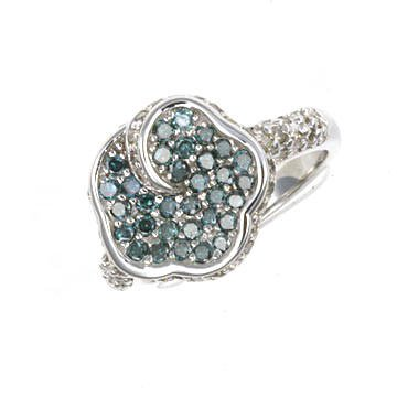 1.5 Ctw Geniune Blue&White Diamond Ring
