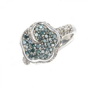 1.5 Ctw Geniune Blue&White Diamond Ring