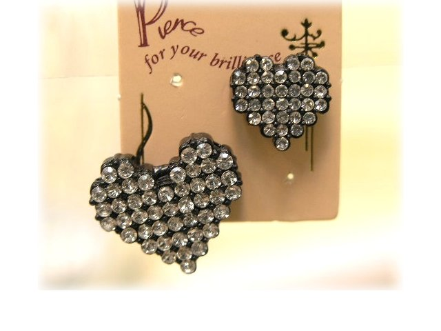 black mosaic heart earrings