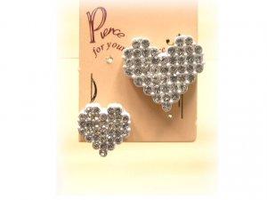 white mosaic heart earrings