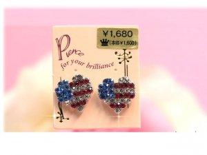 USA mosaic heart earrings