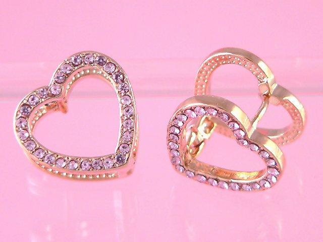 3d gold heart earrings