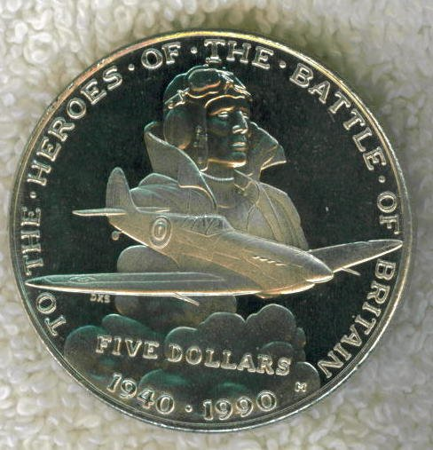 "1990 ""HEROES OF THE BATTLE OF BRITAIN"" FIVE DOLLAR COIN FROM THE MARSHALL ISLANDS."