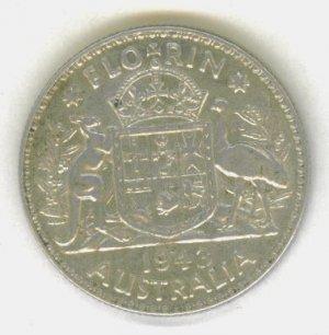 SILVER 1943 AUSTRALIAN FLORIN - BEAUTIFUL COIN!