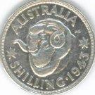 SILVER 1943 AUSTRALIAN SHILLING - GRADE XF+ : STUNNING COIN !