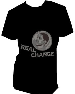 Obama Real Change   unisex   SM - 3XL (please indicate size during checkout)