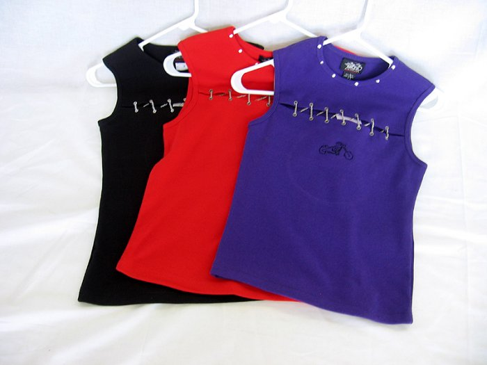 Choppers For Chics Center Chain Tank Top All Hemmed Finish, Not Surged, Red Black Purple  15.99