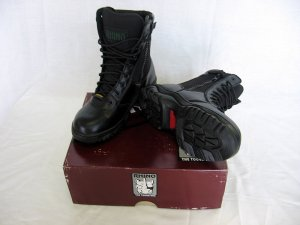 Rhino Boots Genuine Leather Black Hightop Low top High Top Zipper, Velcro 48.50