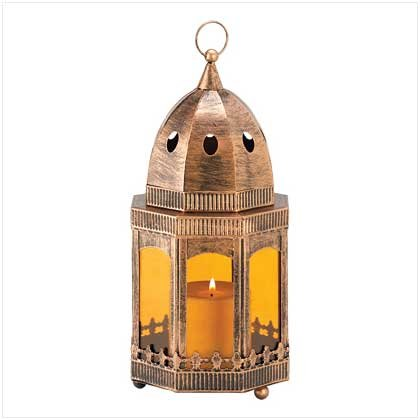 COPPER/AMBER CANDLE LANTERN