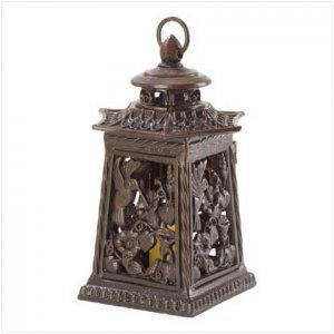 ASIAN BOTANICAL METAL LANTERN