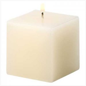 NEW! IVORY VANILLA CUBE CANDLE-ITEM #39230-BUY 1, GET 1 FREE