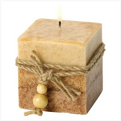RUSTIC WOOD CUBE CANDLE-ITEM #39242-BUY 1, GET 1 FREE