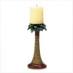 PALM TREE RATTAN CANDLEHOLDER SET-ITEM #37988