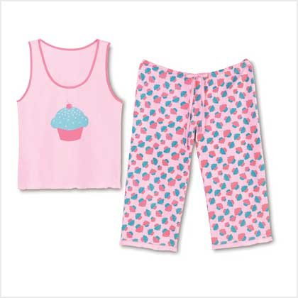 CUPCAKE PAJAMA SET-SIZES SMALL-2XLARGE