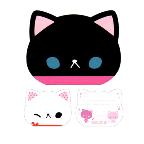 Black and White Kitty Die-cut Memo Pad
