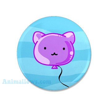 Purple Cat Balloon Mini Button