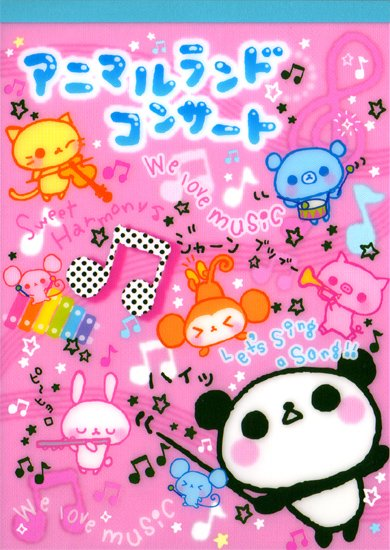 San-X Animal Land Concert Memo Pad with Stickers