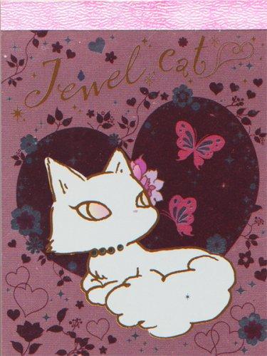 """San-X Jewel Cat """"Butterflies"""" Small Memo Pad"""